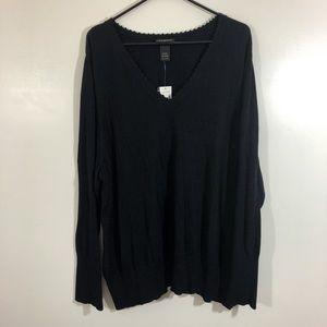 NWT Lane Bryant Black V-Neck Sweater sz 26/28